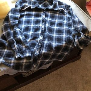 Size large black white and gray flannel shirt